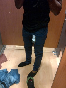 Christopher Thomas Trying on skinny jeans