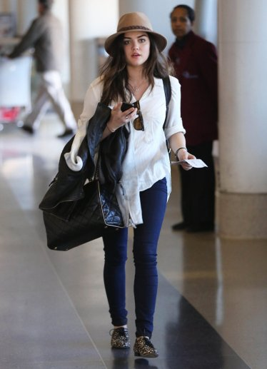 Lucy Hale wearing Dolce Vita Oxfords.