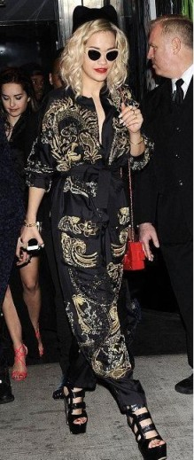 Rita-Ora-Met-Gala-After-Party-Emilio-Pucci-Spring-2013-Black-Silk-Jumpsuit-with-Gold-Embroidery-and-Casadei-Heels